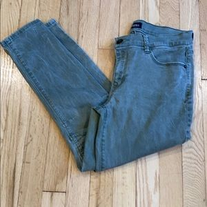 Express faded army green ankle jeans